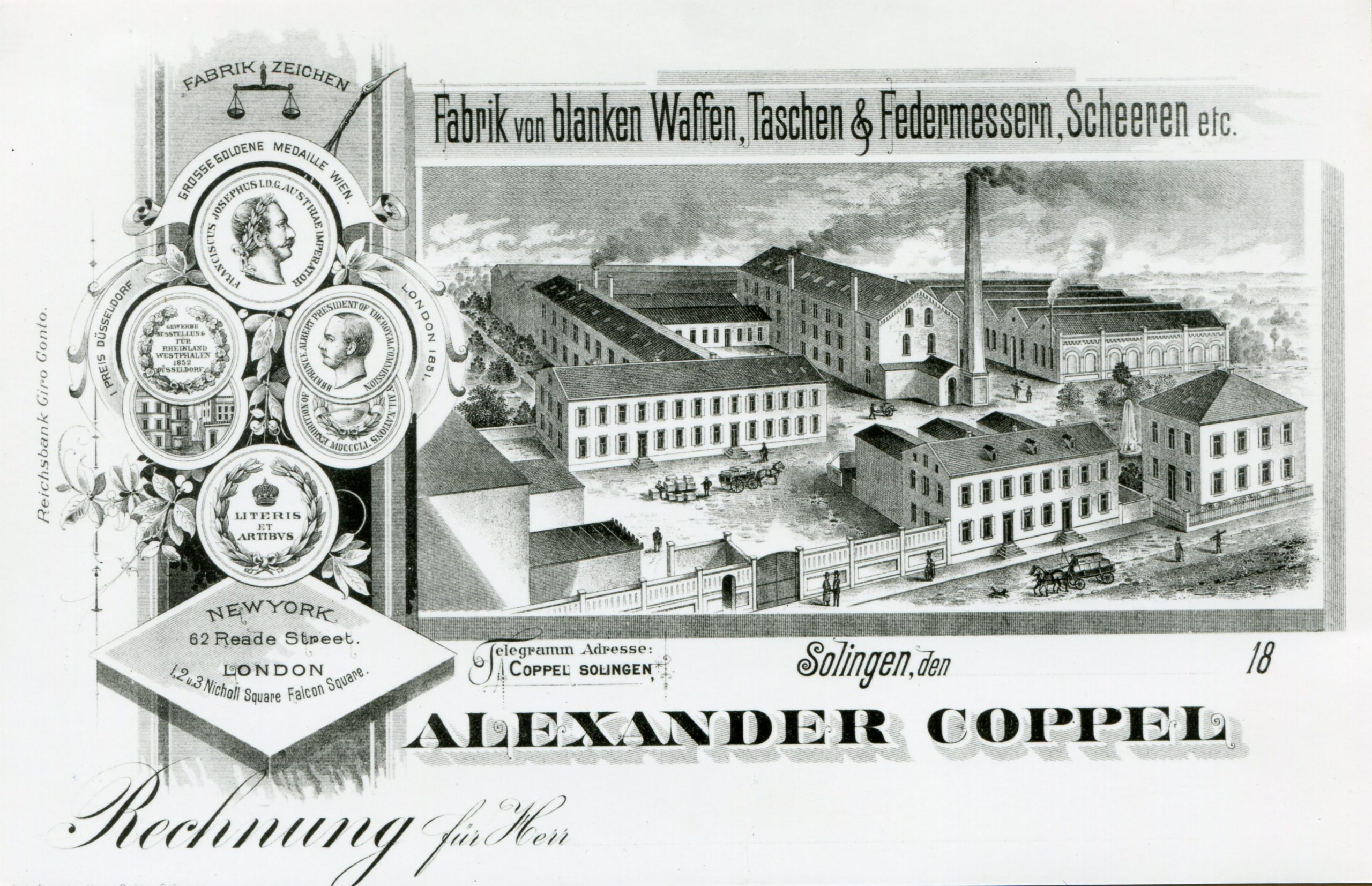 Invoice letterhead from Alexander Coppel