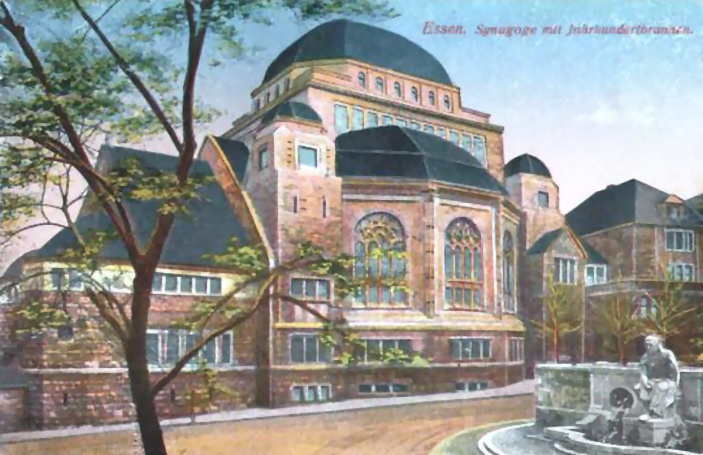 Picture postcard of the Essen synagogue around 1917