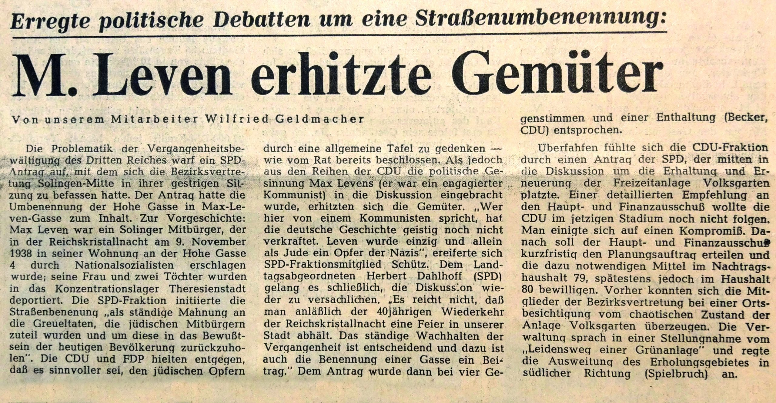 Report on the renaming of the Max Leven Gasse in Solingen