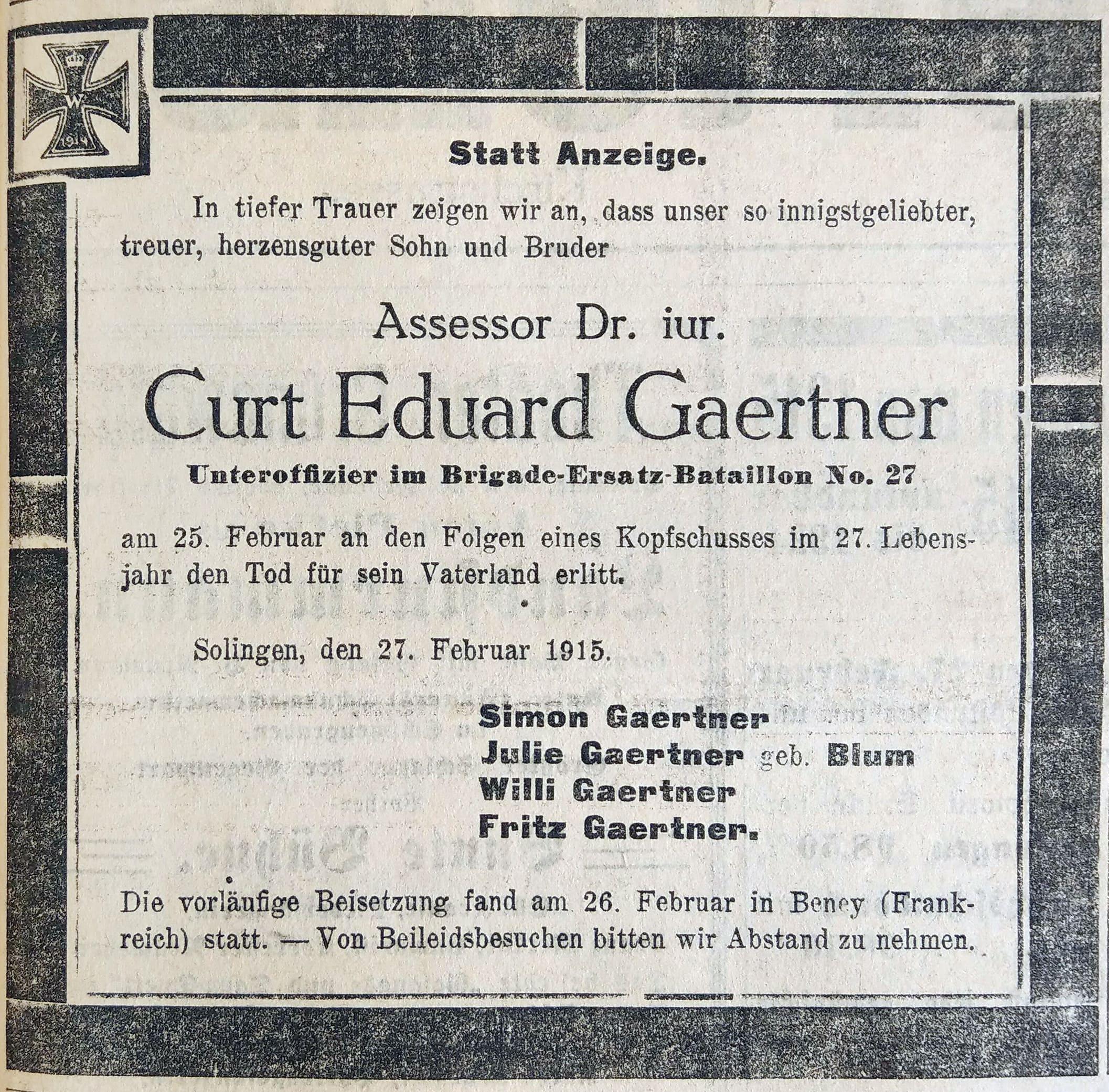 Obituary Dr Curt Gaertner