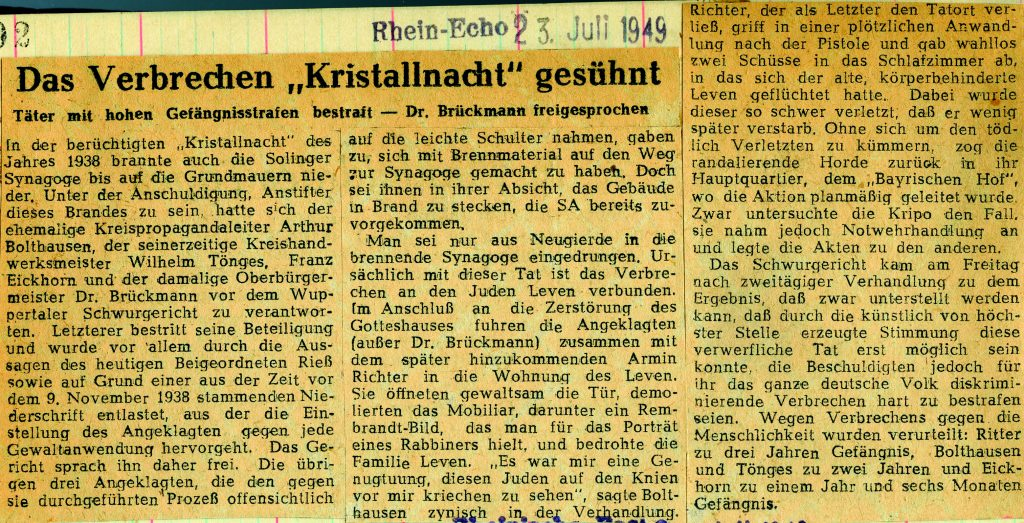 The crime of the Kristallnacht expiated