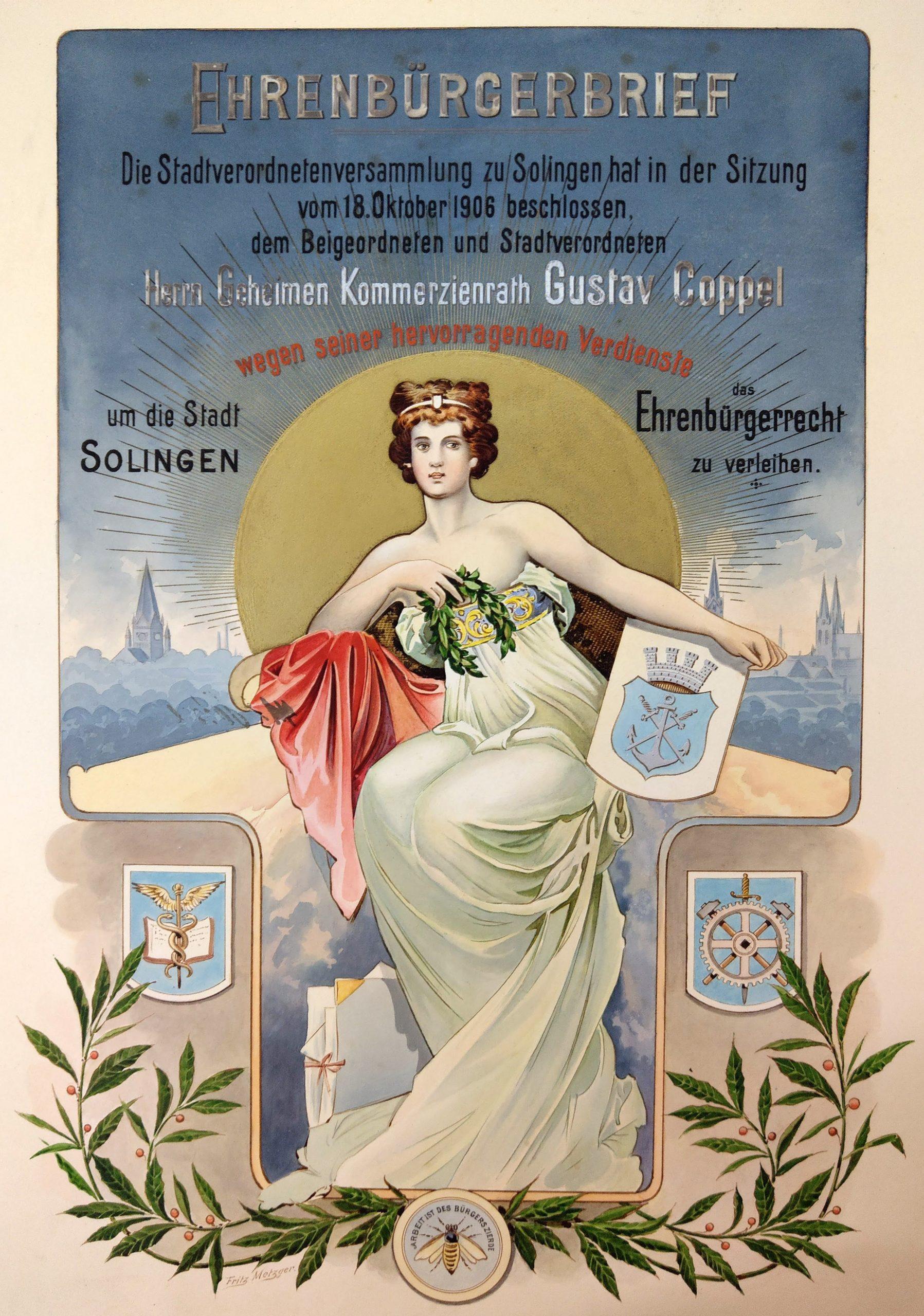 Honorary citizenship certificate for Gustav Coppel