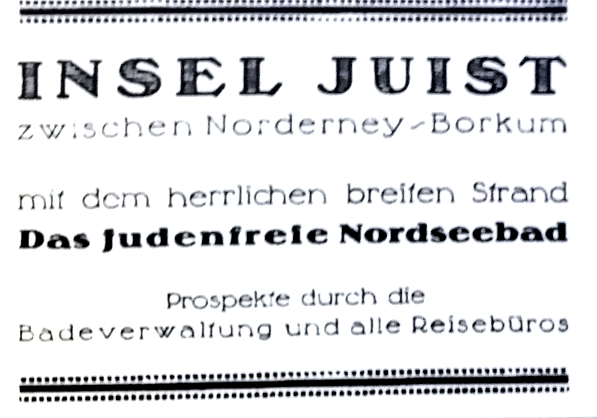 Advertisement for the Jew free North Sea resort Juist
